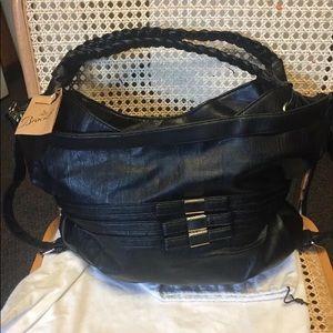 Braciano black faux leather shoulder hand bag